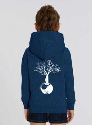 Sweat Bio Enfant Fille Bleu Denim Dos