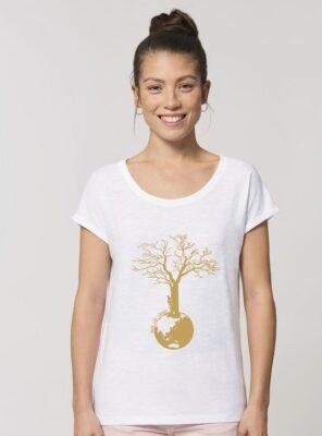 Tshirt Bio Femme Save The World Blanc